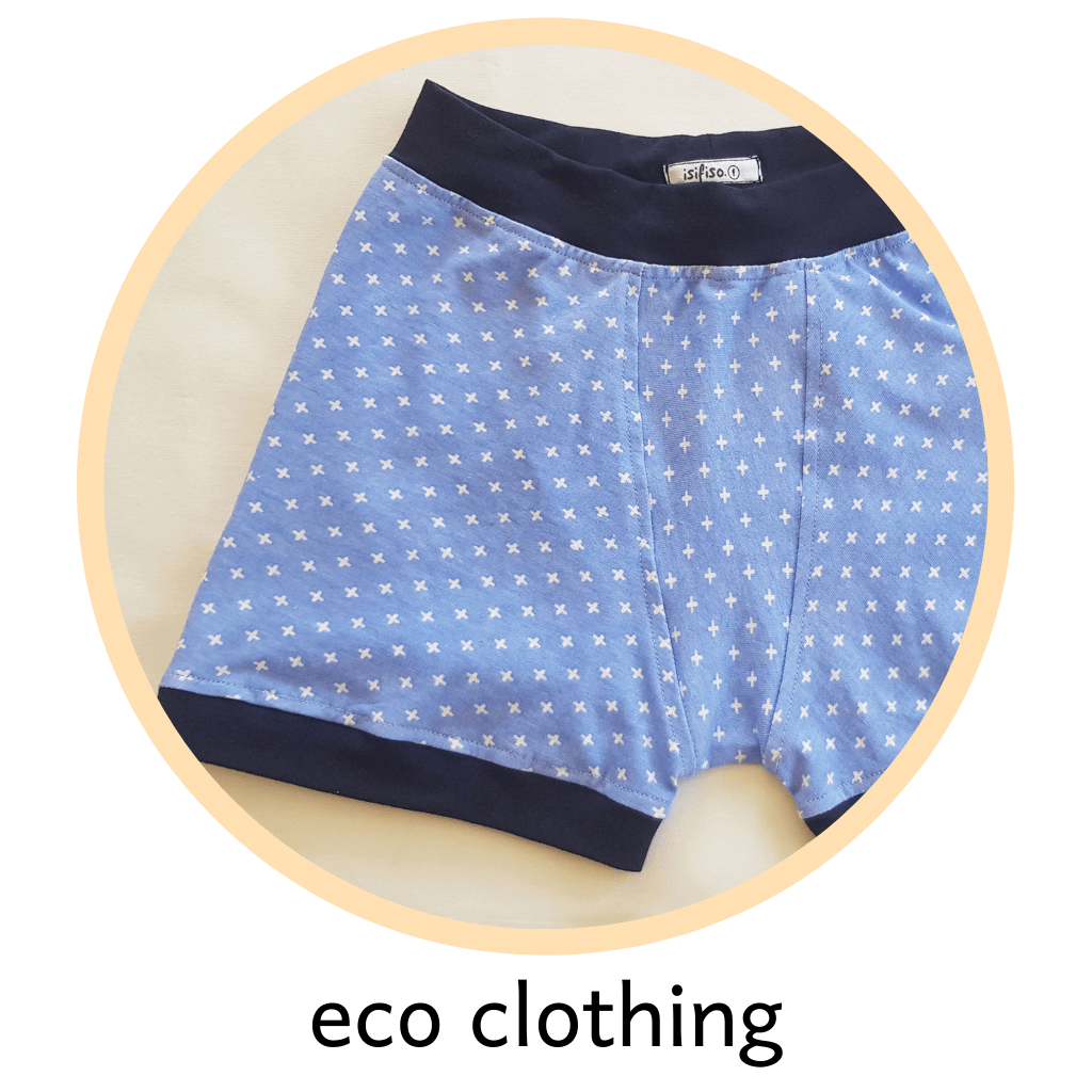 picture of a organic cotton boxer briefs in shades of blue - eco friendly clothing for women and children