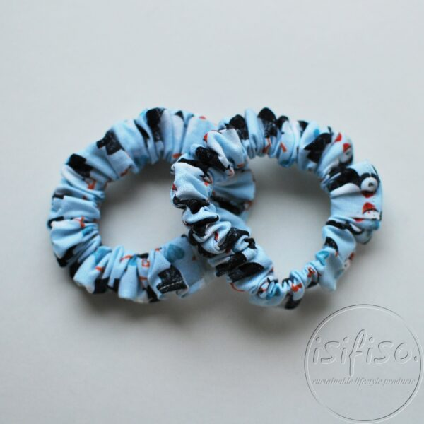 puffin printed blue handmade eco friendly scrunchy