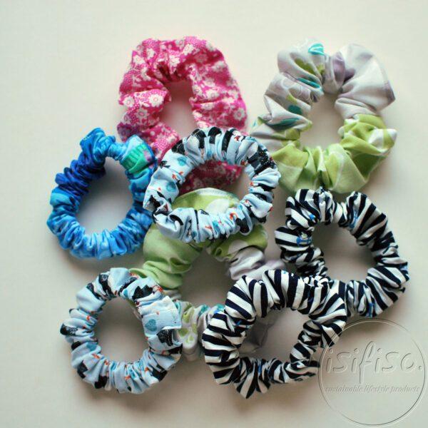 handmade eco friendly scrunchies in a pile