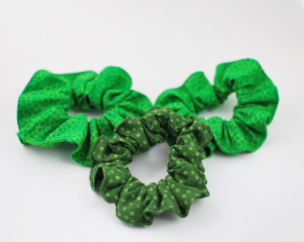 eco scrunchies in green assorted prints