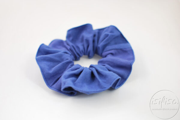 Plain blue eco scrunchie from fabric off cuts