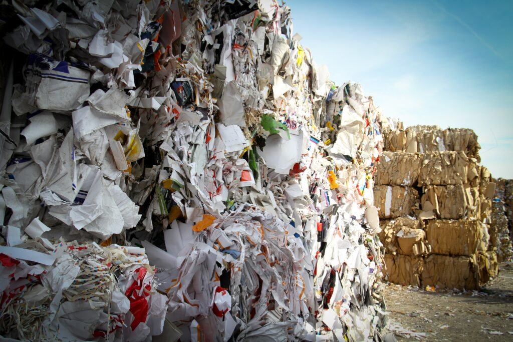 paper waste bundled - saving paper
