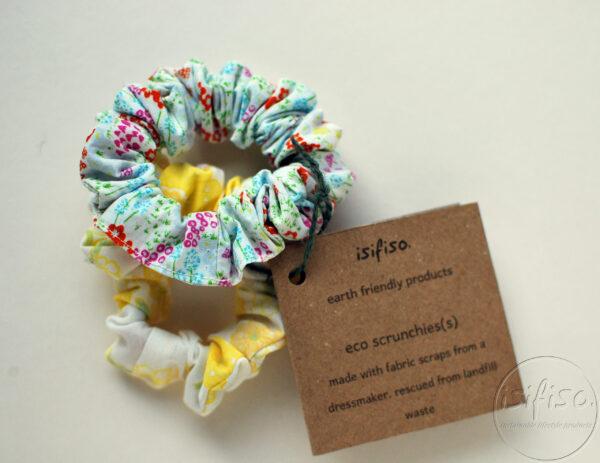 2 eco friendly handmade scrunchies packaged