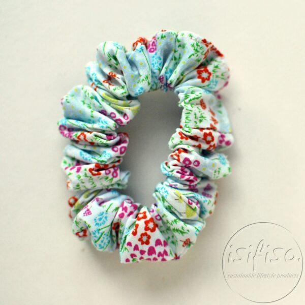handmade eco scrunchy ditsy multi color flowers printed