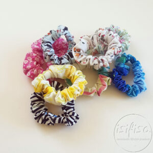 handmade eco friendly ponytail ties in a pile