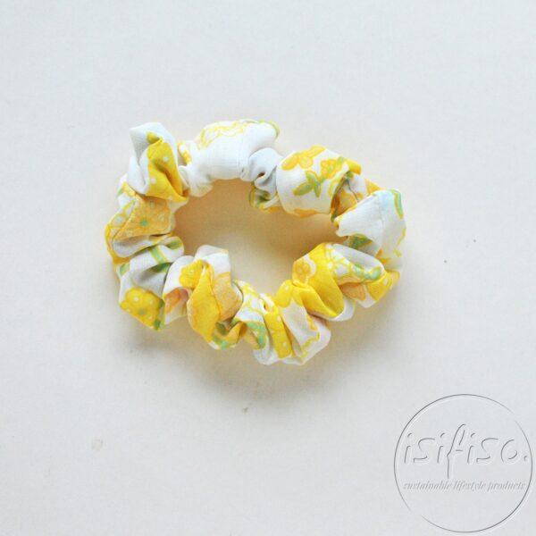 handmade eco scrunchy yellow flowers printed