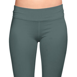bottle green organic cotton leggings on a mock-up front view cropped
