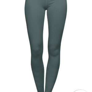 bottle green organic cotton leggings on a mock-up front view