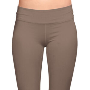brown organic cotton leggings on a mock-up front view cropped